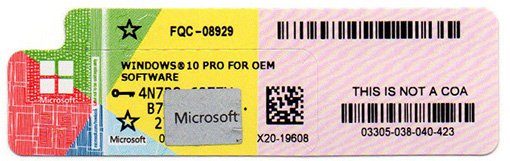 microsoft examples of product key stickers